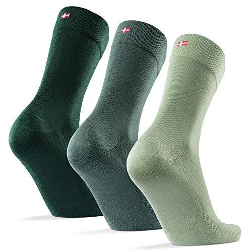 DANISH ENDURANCE Weiche Socken 3 Paare (Mehrfarbig (1 x Hellgrün, 1 x Mittelgrün, 1 x Dunkelgrün), EU 43-47)