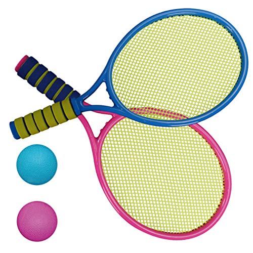 TOYANDONA Kinder Tennisschläger Kleinkinder Tennisschläger Spiel Spielen Strandspielzeug Badminton Set für Kinder mit 2 Tennisbällen (Zufällige Farbe)