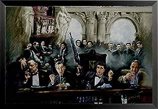 Buyartforless Work Framed Gangsters at Bar 36x24 Art Print Poster Godfather Scarface Sopranos Goodfellas, Black