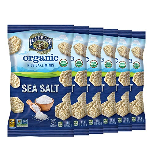 Lundberg Organic Sea Salt Rice Cake Minis, 5oz (6 Count), Gluten-Free, Vegan, Whole Grain, USDA Certified Organic, Non-GMO Project Verified