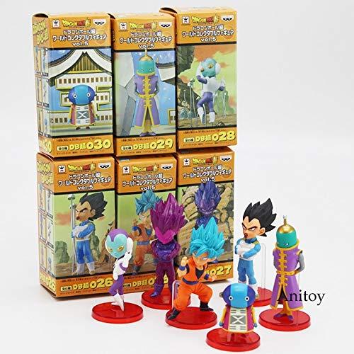 Yvonnezhang Dragon Ball Super Vol.9 Super Saiyan Dios Súper Goku Vegeta Kale Frieza Son Gohan Jiren Figuras de acción con Caja de Venta al por Menor 6pcs / Set, B