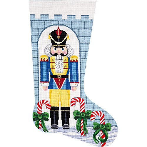 Alice Peterson Home Creations Holiday Edition Needlepoint Stocking Kit- Nutcracker Soldier- Large, Deluxe Size