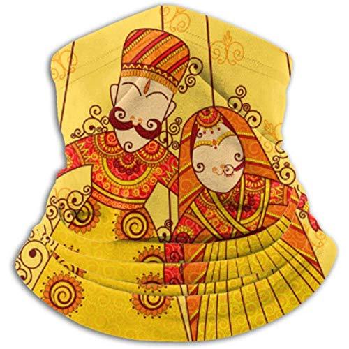 Cubrecuello de microfibra con polaina, calentador de oídos, diadema para la cabeza. Diseño colorido rajasthani marioneta india