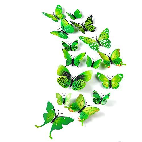 TUPARKA 36 Stück 3D Schmetterlinge Deko Schmetterling Wanddeko Butterfly Wandsticker 3D Wandtatoo Schmetterlinge Balkon Deko (Grün)