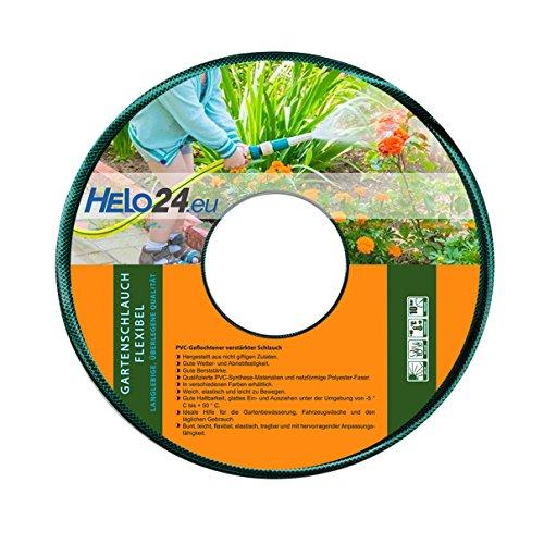 """Helo Gartenschlauch 50 m (3/4\"""" Zoll) grün, verstärkter 3-Schichten Wasserschlauch aus flexiblen PVC mit netzförmiger Polyester Faser, 10 Bar Berstdruck, elastisch weich und leicht zu bewegen"""