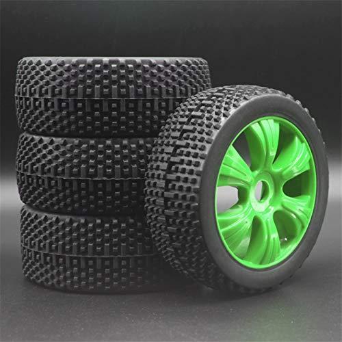 Huanruobaihuo Blanco Negro Verde Amarillo Rojo RC 1: 8 en el Terreno de Coches Neumáticos y PlasticWheel Buggy de Goma for Llantas buje Hexagonal de 17 mm 82-801 (Color : 82 801GreenX4PCS)