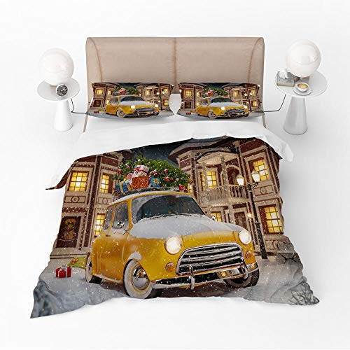 Three-piece duvet cover Yellow car Duvet Cover and Two Pillow Cases Microfibre 3D Digital Print Three-Piece Set,200x200cm