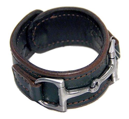 Equestrian caballo poco piel amplia Cuff pulsera plateado Hardware