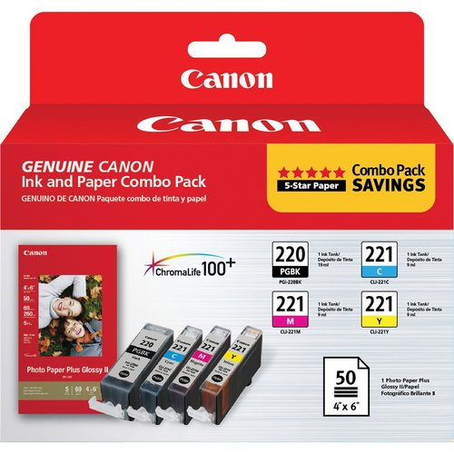 Canon 2945B011 PGI-220 and CLI-221 CMY Ink with PP-201 (50 Sheets) Combo Pack,Cyan, Magenta, Yellow, Black