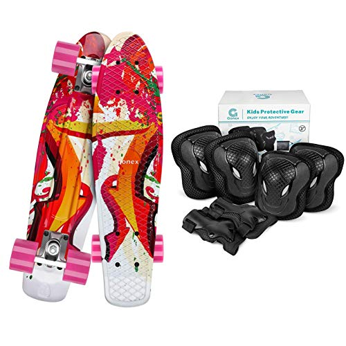 Gonex 22 Inches Mini Cruiser Skateboard with Size M Kids Skateboard Elbow Pads Knee Pads with Wrist Guards