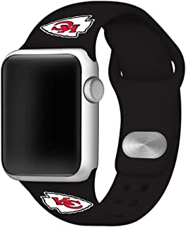 GAME TIME Kansas City Chiefs Silicone Sport Band Compatible with Apple Watch - Band ONLY (42mm/44mm)