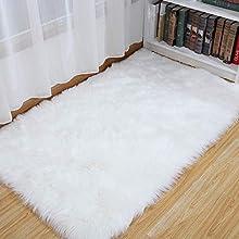 SXYHKJ Antideslizante Sheepskin Rug Cordero, imitación mullida Alfombras imitación Piel sintética Piel,para salón Dormitorio baño sofá Silla cojín (Blanco, 60x90cm)