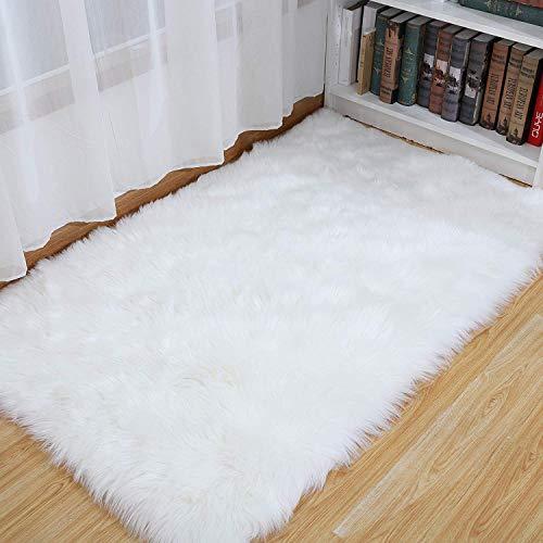 SXYHKJ Faux pelliccia di agnello di pecora tappeto,Pelliccia sintetica Tappeto vello di pecora - bel colore molto caldo, Ottima Qualità (bianco, 60_x_90_cm)