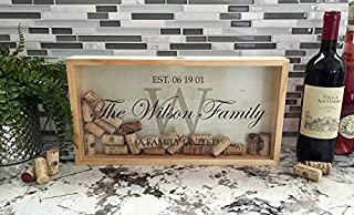 Qualtry Personalized Wedding Gifts, Rustic Wedding Gift for The Groom and for Her - Wall Mounted Monogram Wine Cork Shadow Box Holder Display (16.25