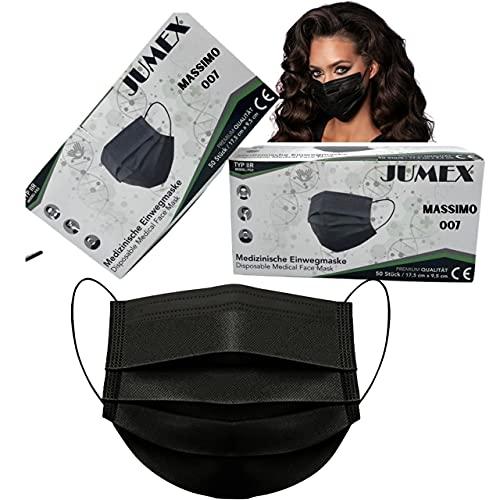 MASSIMO 007 50 Stück Medizinische Masken Schwarz OP Masken Schwarz CE Zertifiziert EN14683 TYP IIR BFE ≥ 98{5e9061ceff942565923683b9309d262e50ed7ac1fbf1358468eb9537ca62524c} Schwarze Gesichtsmaske Medizinischer Mundschutz schwarz Mund Nasenschutz schwarz