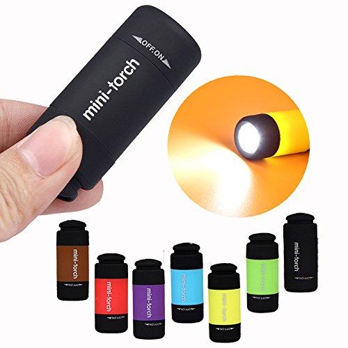Bigmac 12 piezas/paquete de mini linterna LED de carga USB colorido tamaño de bolsillo interruptor giratorio recargable llavero lámpara de luz – el color puede variar (12)