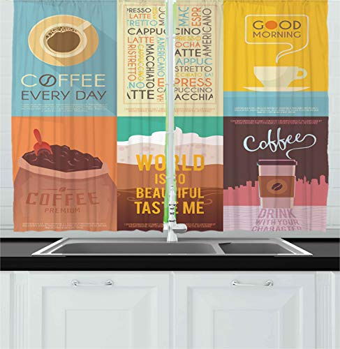 """Ambesonne Coffee Kitchen Curtains, Group of Coffee Themed Artworks with Typography Vintage Ornament Print, Window Drapes 2 Panel Set for Kitchen Cafe Decor, 55"""" X 39"""", Yellow Brown"""