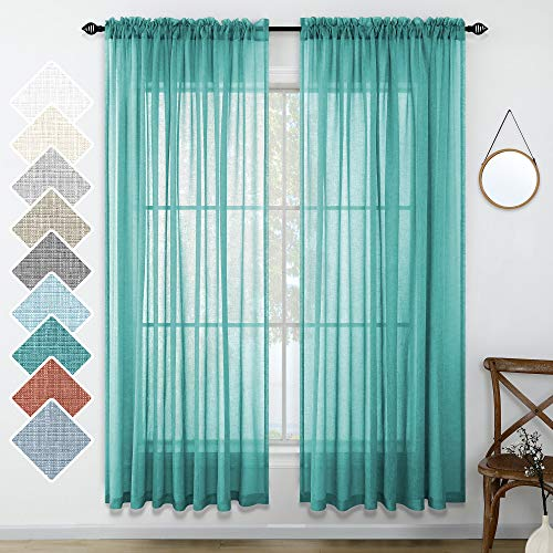 Teal Curtains 84 Inch Length for Bedroom Pair Set 2 Panels Rod Pocket Window Drapes Beach Decor Faux Linen Drapery Light Reducing Semi Sheer Textured Curtain for Living Room 52x84 Long Dark Teal Green