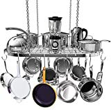 Hanging Pot and Pan Rack, Ceiling Mount Cookware Pan Rack Hanger Organizer with 10 Pot Hooks for Home, Kitchen Cookware, Restaurant (33.5 inch)