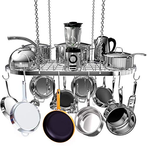 Hanging Pot and Pan Rack Ceiling Mount Cookware Pan Rack Hanger Organizer with 10 Pot Hooks for Home Kitchen Cookware Restaurant 335 inch