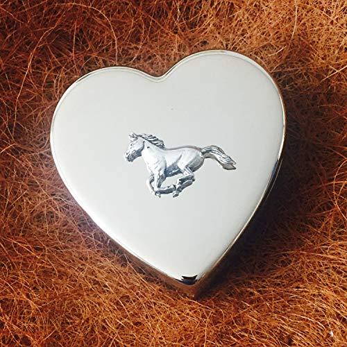 Really Useful Gifts Pastillero de Peltre Chapado en Plata con Forma de corazón y Emblema de Caballo Ecuestre