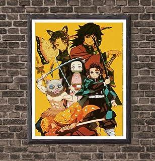 Demon Slayer Gourp Tanjirou Nezuko Zenitsu Giyuu Kimetsu no Yaiba Anime Fabric Poster Wall Art Print,8 x 10 Inches,No Frame
