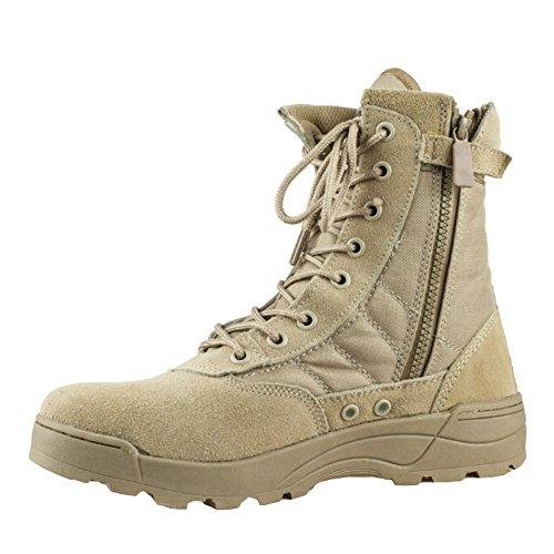 Highdas Herren Outdoor Boots Army Stiefel - High Worker Boots Einsatzstiefel Kampfstiefel Wanderschuhe Combat Boots Leinenschuhe Tactical Schuhe Braun 44
