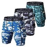 ZENGVEE Lot de 3 Shorts de Compression pour Hommes Collants de Sport Secs et Frais sous-Shorts de Sport Shorts de Couche de Base de Course avec Poches pour téléphone(1012-Camo Blue-M)