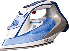 Joya Steam Iron with Ceramic Soleplate (2400W) | Overheat safety protection | Powerful Burst of Steam | Blue & White