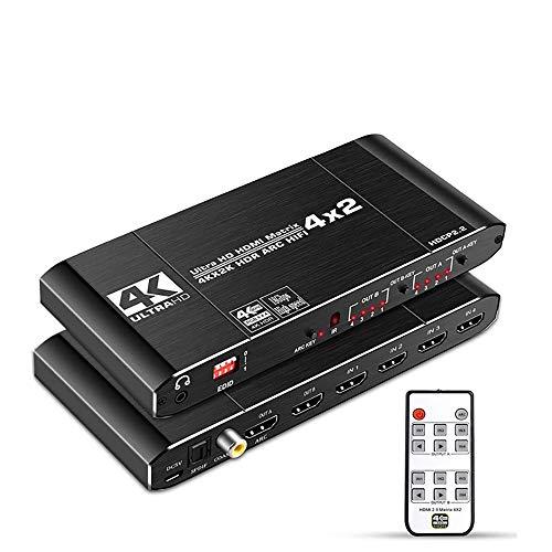 KuWFi HDMI Switch, HDMI Switch Splitter Support HDCP 2.2 Mando a Distancia IR Conmutador HDMI 4x2 4K HDMI 4x2 Matrix Switch Auto EDID, Mando a Distancia IR, CEC Control TV (4K @ 60Hz)