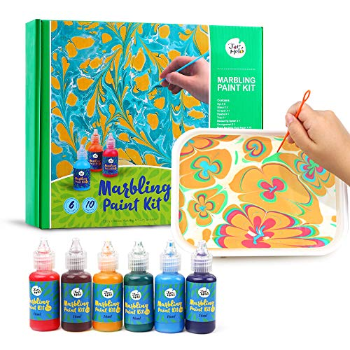 Jar Melo Marbling Paint Kit for Kids; Water Marbling kit;Non-Toxic; Water Art Paint Set,Craft Suppliers for Girls & Boys, 6 Colors,Christmas Gift for Kids