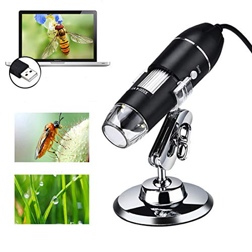 Giyl Digitale microscoop, hand-usb-microscoopcamera, met 8 verstelbare ledlampen, voor cadeau-kinder-mini-zakken microscoop