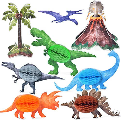 Watercolor Dinosaur Party Centerpieces - 8 PCS Dinosaur Party Table Decoration for Kids Boys Dino Themed Birthday Table Topper 3D T-Rex Volcano Honeycomb Centerpieces