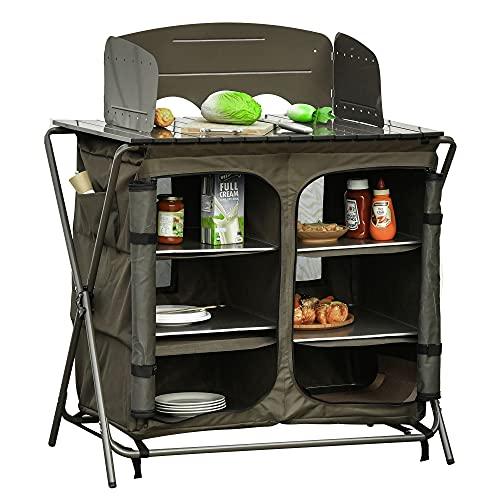 Outsunny Armario Cocina de Camping Plegable con Paraviento 6 Estantes Bolsa de...