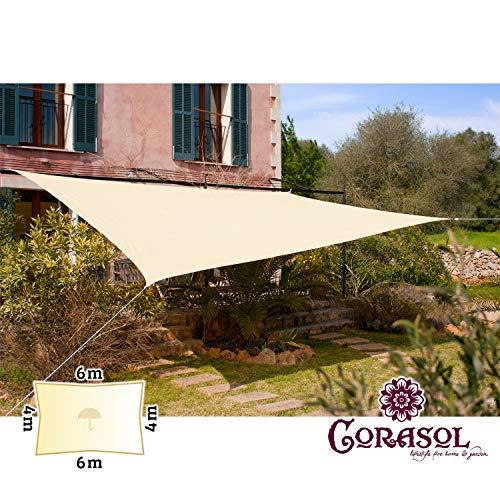 Corasol 160130 Premium Sonnensegel, 6 x 4 m, Rechteck, wasserabweisend, Creme-weiß