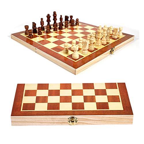 U/D Plegable Tablero de ajedrez de Madera Plegable Plegable de Madera 34 * 34 cm Juego Juego Divertido ajedrez colección portátil Juego de Mesa