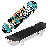Hikole Completo Skateboard para Principiantes, Adolescentes, Niñas, Niños, Tabla de Crucero de 80 x 20 cm, Patineta Cóncava de Arce Canadiense de 7 Capas, Rodamiento ABEC-7