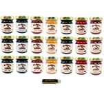 Mrs. Miller's Mini, 7 FLAVOR HOMESTYLE, Jams and Jellies, Sampler, 1.5 oz. - Pack of 21 (3 of ea): Black Raspberry, Blueberry, Cherry, Dutch Apple, Fig, Plum, & Red Currant with a Jarosa Lip Balm