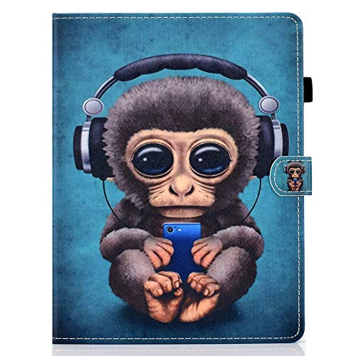 "WDSUN 10 Inch Tablet Case Universal, PU Leather Protective Case Stand Cover for Huawei MediaPad T3/T5 10, iPad 10.2 2019, Samsung Tab A 10.1/Tab E 9.6, Lenovo Tab E10, Fusion5 10.1"", Monkey"