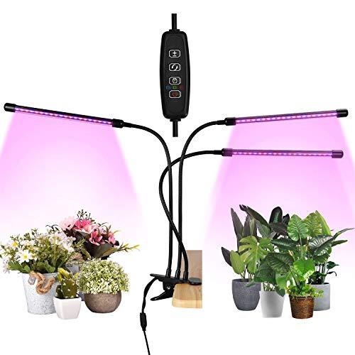Pflanzenlampe LED, 30W Vollspektrum Pflanzenlicht für Zimmerpflanzen, 3-Head Pflanzen Wachstumslampe mit Timer 3 Modi 6 Helligkeitsstufen, Grow Light Wachsen Lampe für Innen Samen Knospe Pflanze