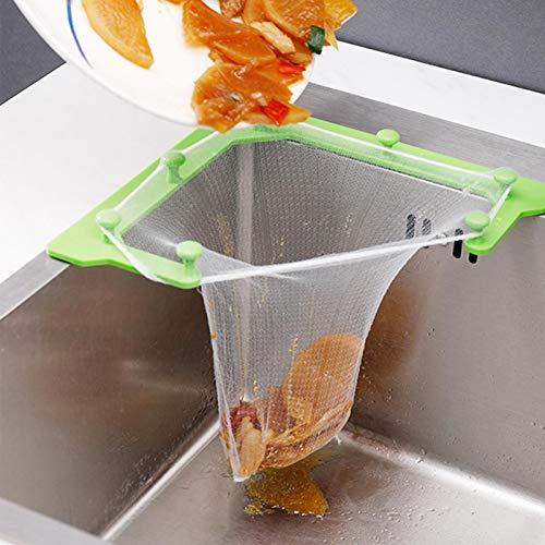 Kitchen Sink Drain Strainer, Triangle Tri-Holder Filter,50Pcs Strainers Corner Bag, Hanging Mesh Net Bags, Leftovers Filter Basket Fine Mesh Bag, Kitchen Corner Sink Garbage Storage Rack Holder