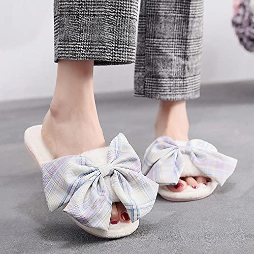 Zapatillas De Casa,Zapatillas De Mujer Interior Punta Abierta Blanca Corto Felpa A Cuadros Lazo Grande Moda Invierno Casa Cálida Dormitorio Antideslizante Zapatillas Cómodas Y Lavables Zapatos
