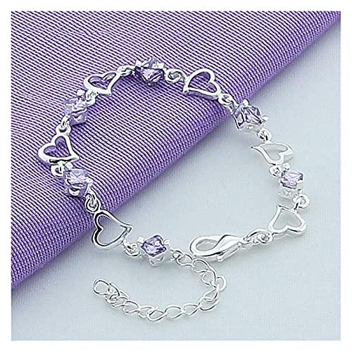 YURG Pulsera de circón púrpura de corazón Plateado para Mujer Joyería Participación Fiesta