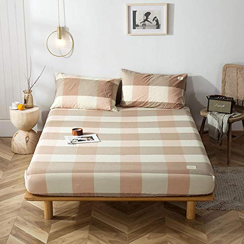 GTWOZNB Super Soft Warm and Cosy Fitted Bed Sheet Cotton bed sheet one-piece protective cover-style powder a80_180*200+15cm