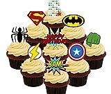 5th cumpleaños superhéroe comestible cupcake toppers–Pie oblea decoraciones para tartas, Pack of 36