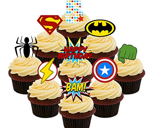 5th cumpleaños superhéroe comestible cupcake toppers – Pie oblea decoraciones para tartas, Pack of 36