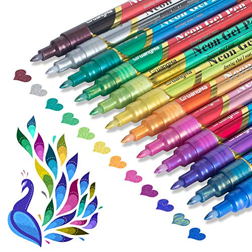 Glitter Metallic Paint Pens: Sparkle Water-Based Marker Pen, 12 Assorted Colors Pen Set for Greeting Cards, Mugs, Wood, Art Drawing, Rock Painting, Posters, Albums, Scrapbooking