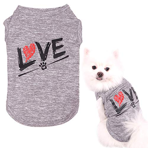 CAISANG Dog Shirts Love Puppy T-Shirt Mommy Sweatshirt/Pets Clothes Sleeveless Vest Doggy Clothing Crewneck Womens Shirts, Cool Apparel for Small Medium Large Dogs Cats Sport Outfits (Pet 2XL)