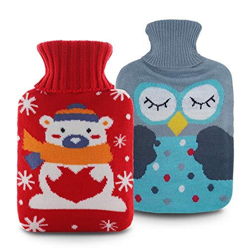 BelonLink bouillote d'eau chaude, Chaud épais bouillottes, Portable en caoutchouc hiver bouteille d'eau chaude Chauffe-mains, main plus chaude filles poche main pieds sac d'eau c(Vert + rouge)