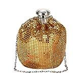 Bolsos Mujer Modelo De Mujer Hecho A Mano Mini Bolsos De Frasco De Cadera Embrague Hombro Aluminio Dama Bolso Lindo Botella De Vino Monedero Bolsos Oro